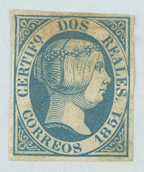 Spain: 1851 2 reales blue, error of colour.